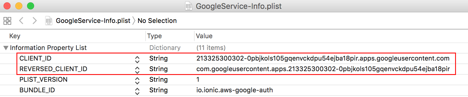 ionic AWS Google oauth client id and reverse id